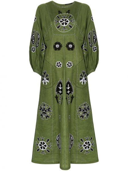 Зеленое платье с вырезом с вышивкой Vita Kin