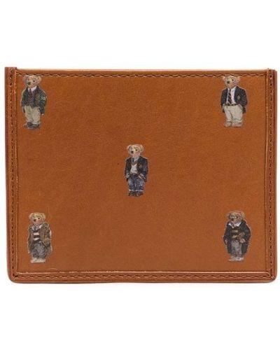 Кожаный картхолдер - коричневый Polo Ralph Lauren