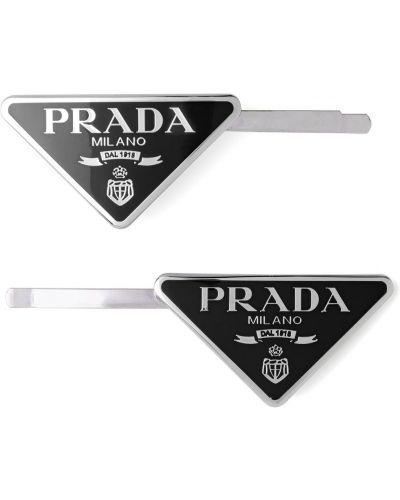 Dom czarny klipsy metal Prada