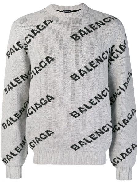 Sweter wełniany z długimi rękawami z printem Balenciaga
