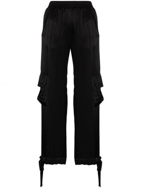 Брючные черные брюки карго с манжетами с карманами Matériel