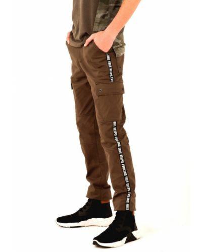 Хлопковые брюки на резинке хаки Kit-lime
