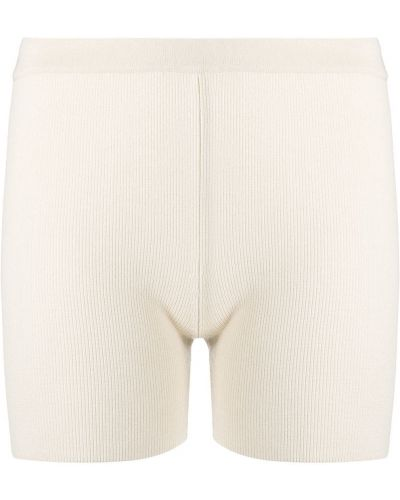 Белые с завышенной талией шорты из вискозы Jacquemus