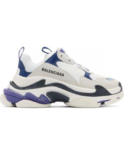 Кожаные белые кроссовки на каблуке Balenciaga
