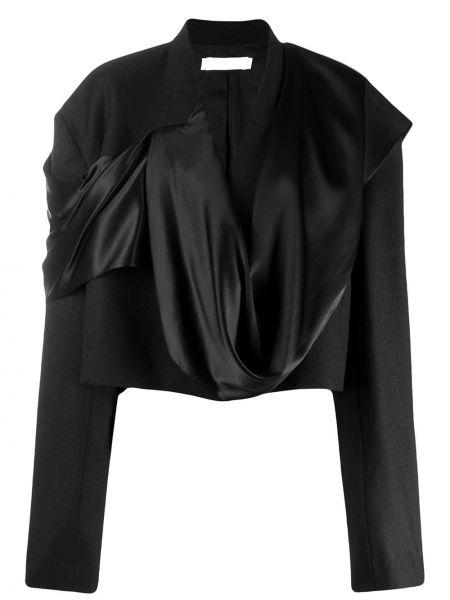 Шерстяная прямая черная куртка с драпировкой Litkovskaya