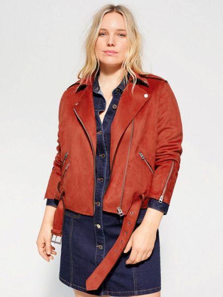 Кожаная куртка весенняя красная Violeta By Mango