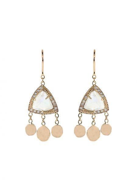 Розовые золотые серьги с камнями на крючках Jacquie Aiche