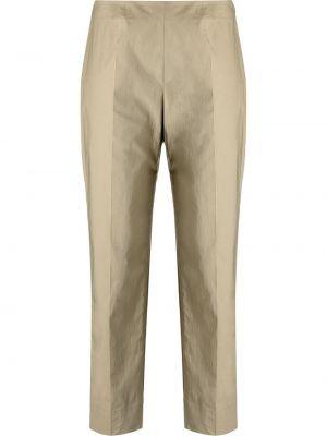 Прямые хлопковые зеленые укороченные брюки Piazza Sempione