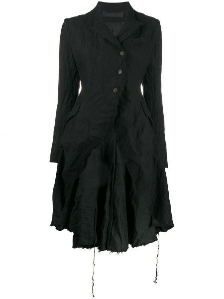 Расклешенное черное длинное пальто на пуговицах Marc Le Bihan