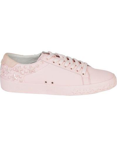 Кожаные кроссовки на платформе розовый Ash