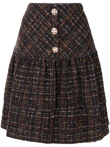 Черная акриловая юбка мини на пуговицах Edward Achour Paris