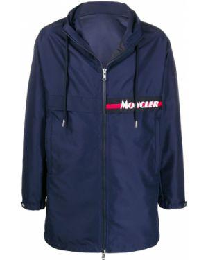 Niebieski płaszcz z kapturem z długimi rękawami Moncler