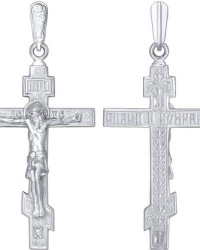 Серебряный крест с декоративной отделкой Sokolov