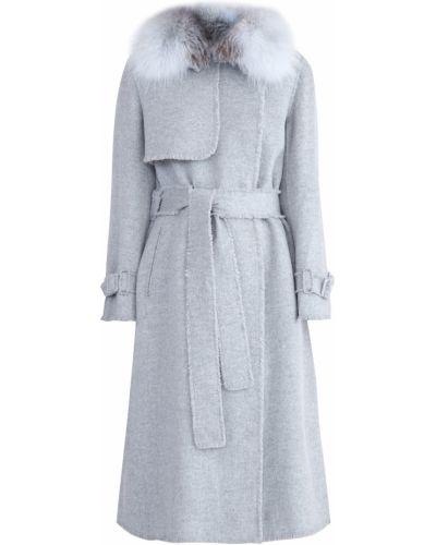 Пальто классическое серое шерстяное Yves Salomon