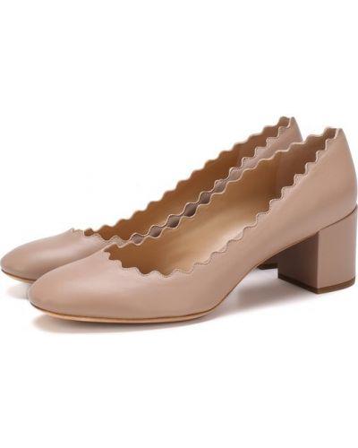 Туфли на высоком каблуке кожаные на каблуке Chloé