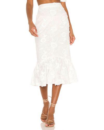 Biały spódnica midi z zamkiem błyskawicznym z haftem prążkowany Camila Coelho