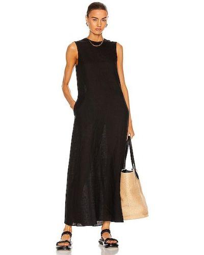 Черное льняное платье Asceno