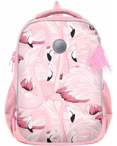 Школьный розовый ранец на бретелях с карманами Grizzly