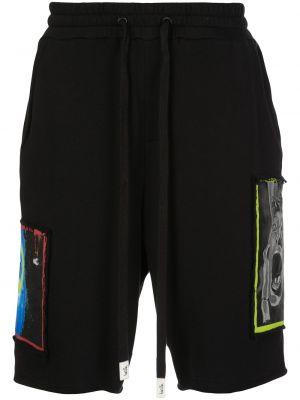 Czarne krótkie szorty z haftem bawełniane Haculla