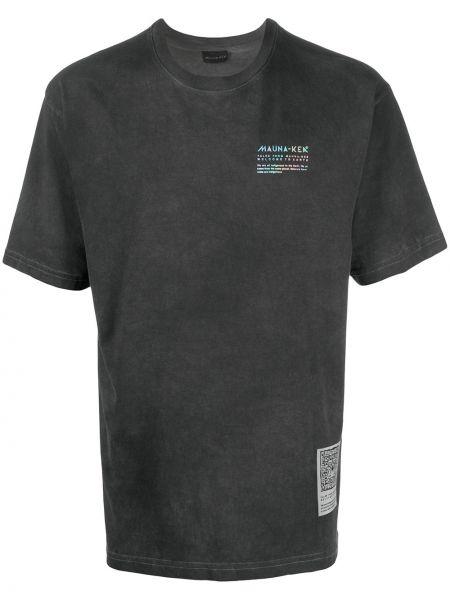 Прямая хлопковая серая футболка с нашивками Mauna Kea