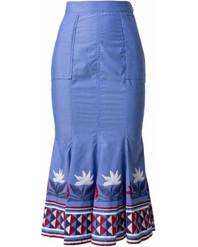 Хлопковая юбка миди с принтом с завышенной талией Stella Jean