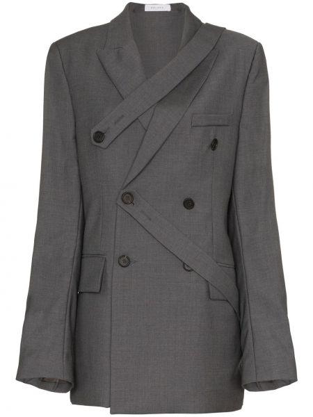 Шерстяной серый пиджак двубортный Delada