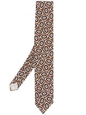 Brązowy krawat z jedwabiu z printem Lardini