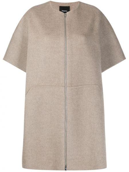 Укороченное пальто без воротника с воротником Theory
