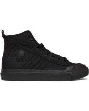 Черные высокие кроссовки на каблуке с заплатками Diesel