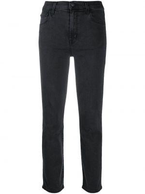 Хлопковые серые укороченные джинсы на молнии узкого кроя J Brand