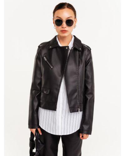 Кожаная куртка на молнии - черная Befree
