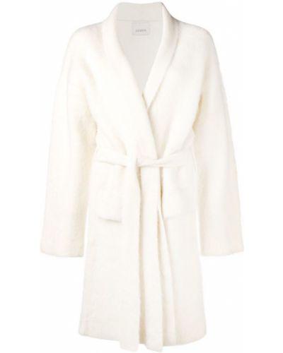 Приталенное шерстяное белое длинное пальто Laneus