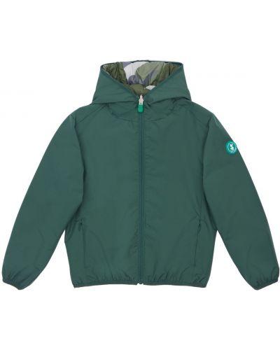 Zielona kurtka z nylonu z printem Save The Duck