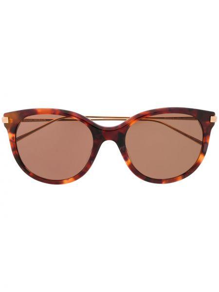 Золотистые коричневые прямые солнцезащитные очки металлические Boucheron Eyewear