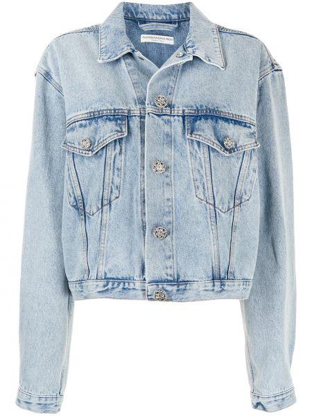 Ватная синяя джинсовая куртка с воротником Alessandra Rich