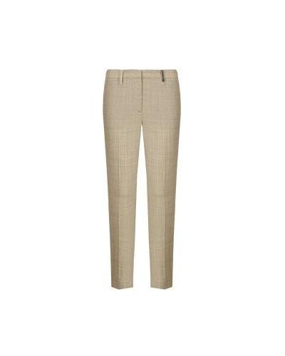 Прямые шерстяные зеленые брюки Fabiana Filippi
