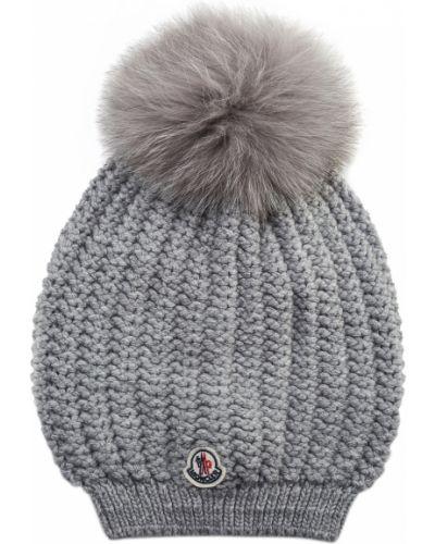 Вязаная шапка с помпоном с мехом Moncler