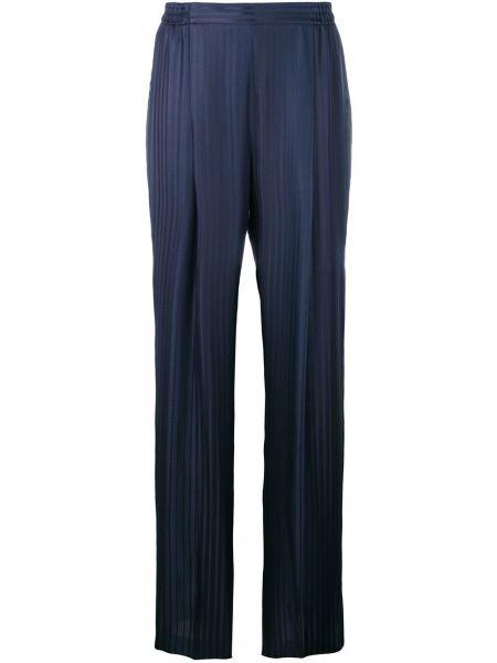 Синие шелковые плиссированные свободные брюки Stella Mccartney