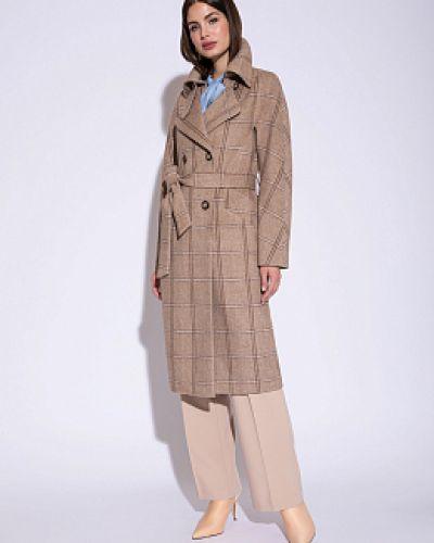 Бежевое шерстяное пальто с воротником Electrastyle