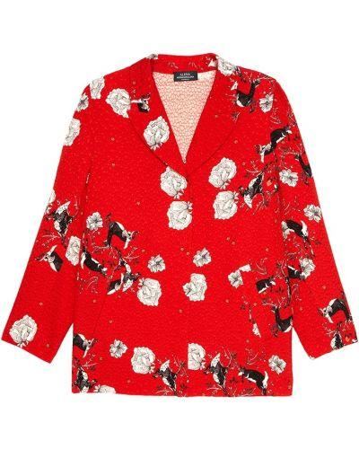 Шелковый красный удлиненный пиджак с воротником с лацканами Alena Akhmadullina