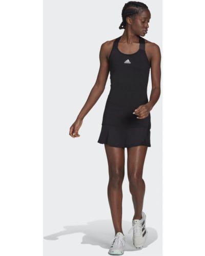 Мягкое теннисное черное платье Adidas