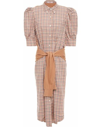 Хлопковое бежевое вязаное платье-рубашка Derek Lam 10 Crosby
