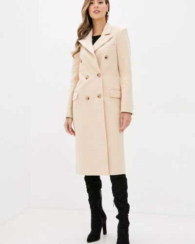Бежевое пальто двубортное Self Made