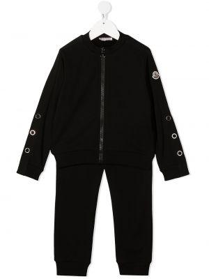 Z rękawami bawełna czarny dres z mankietami Moncler Kids