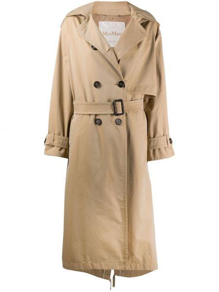 Хлопковый длинное пальто с поясом с лацканами Max Mara
