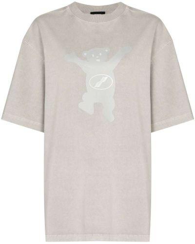 Хлопковая серая прямая футболка с круглым вырезом We11done