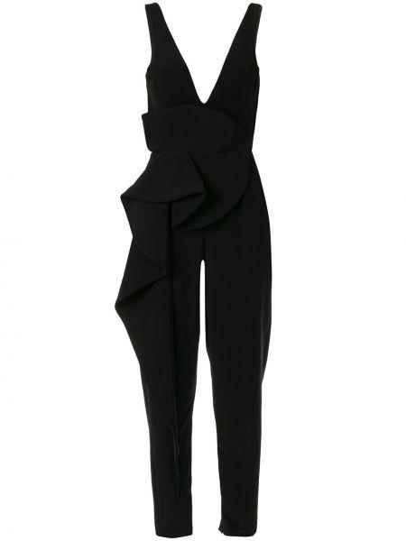 Черный комбинезон с V-образным вырезом с оборками без рукавов Azzi & Osta