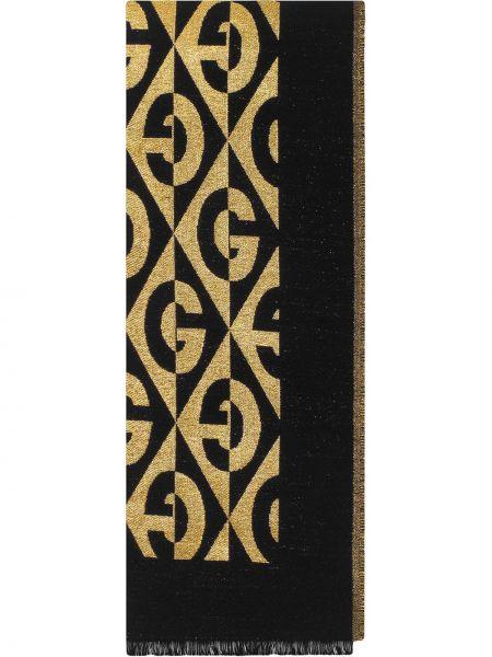 Bawełna wełniany czarny szalik Gucci