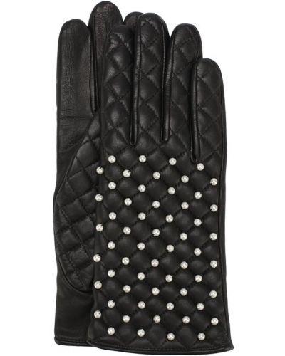 Кожаные перчатки с жемчугом Agnelle