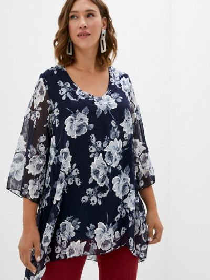 Синяя весенняя блузка Malena